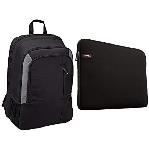 Amazon Basics - Mochila Para Portátil De 15 Pulgadas - Color Negro + Nc1303152 - Funda Para Ordenadores Portátiles (13.3%22), Color Negro