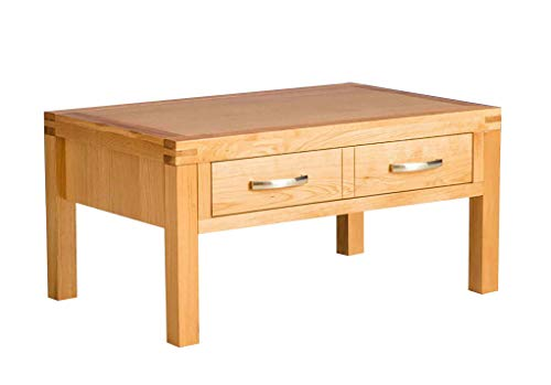 RoselandFurniture Abbey Light Oak Large Coffee Table with Storage Drawer   Contemporary Lacquered Solid Wood Rectangular Living Room Furniture, H:45cm x W:85cm