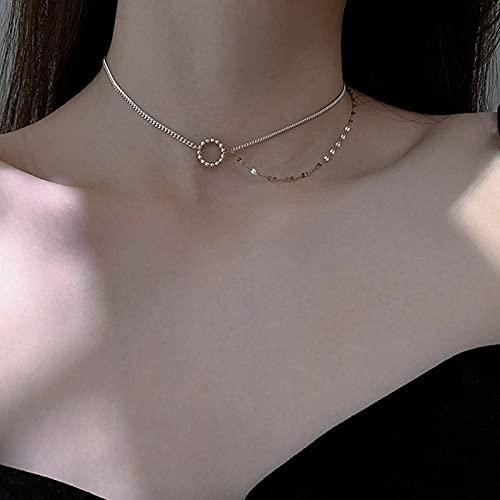 Collares Joyería Colgantes Collar De Doble Capa Circular De Plata De Ley 925, Cadena De Clavícula, Joyería Fina, Accesorios Bonitos De Boda para Mujer