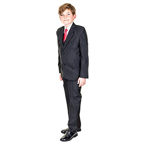 Hei Mei 5tlg. Jungen Fest Anzug Kommunionsanzug Smoking Kinderanzug für viele Festliche Anlässe M133sw Schwarz 12/140 / 146