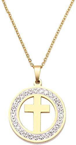 CAISHENY Necklace Stainless Steel Crystal Round Pendants Necklace Women Choker Jewelry Cross Trendy Necklaces Chain