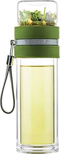T-Bottle Theebeker, Forest Green, Met theefilter, dubbelwandig glas, Maak eenvoudig je eigen verse thee, Vaatwasmachine bestendig