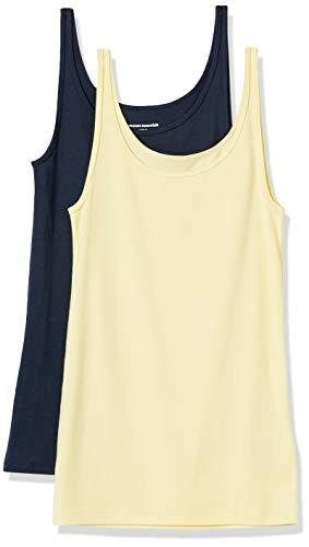 Amazon Essentials 2-Pack Thin Strap Tank-Top-and-Cami-Shirts, Amarillo Claro/Azul Marino, M