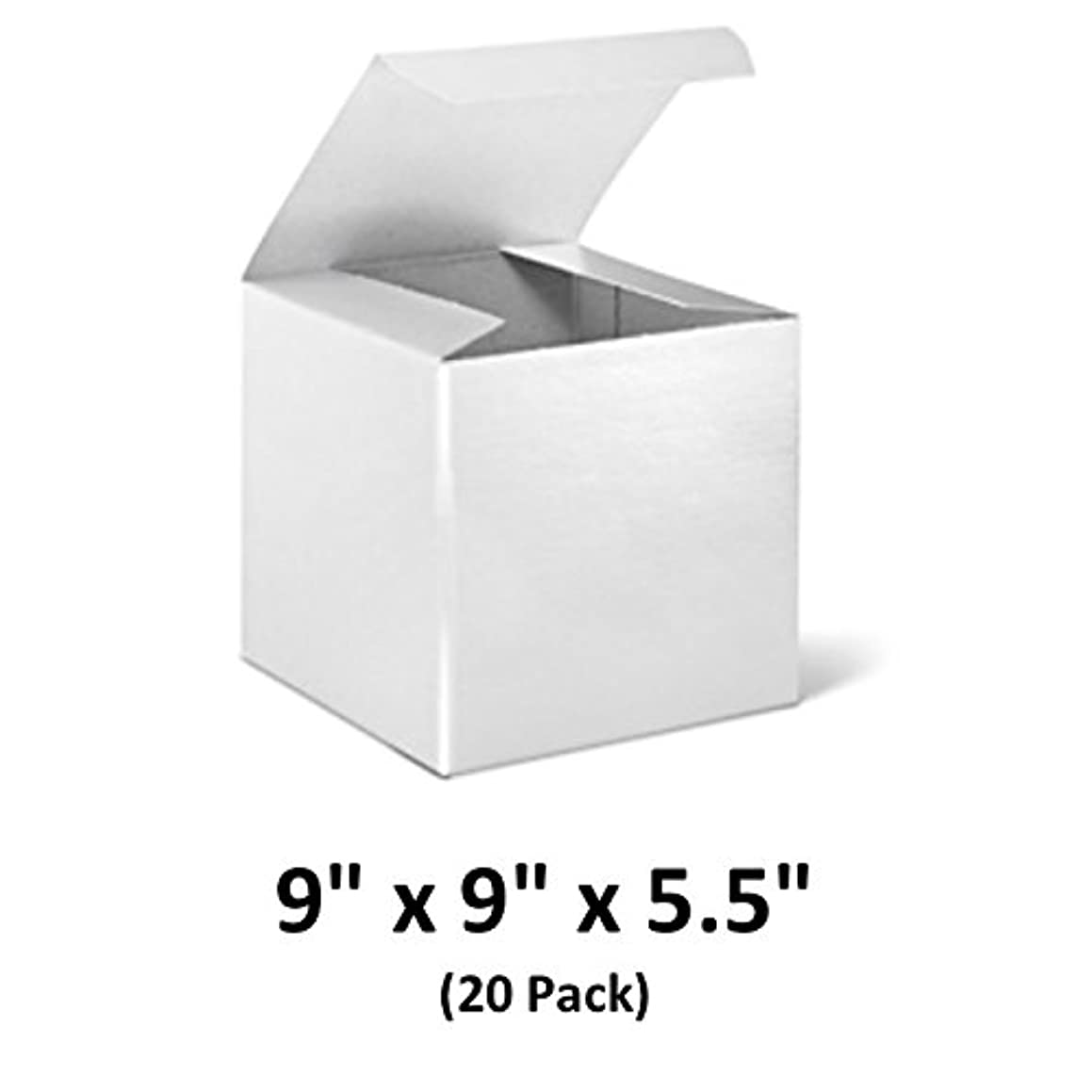 White Cardboard Tuck Top Gift Boxes with Lids, 9x9x5.5 (20 Pack) for Gifts, Crafting & Cupcakes | MagicWater Supply
