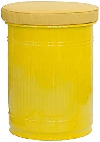 más orden RONNIEART Bidón Taburete POUFF POUFF POUFF Cesta de Metal Barnizado Asiento de Piel sintética Color amarillo  ¡no ser extrañado!
