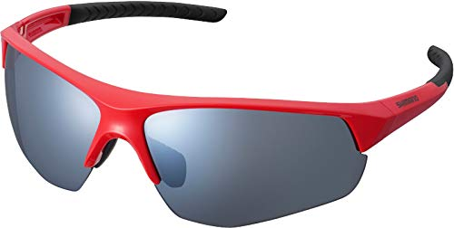 SHIMANO Gafas Mirror Y21, Occhiali Ciclismo Unisex-Adulto, Rosso con Fumo Argento (Multicolore), Taglia unica