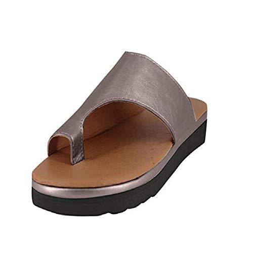 Vertvie Damen Sandalen Bequeme Plattform Pantoletten Zehentrenner Hausschuhe Sommer Strand Reise Schuhe Flach Flip Flops(38 EU, Braun)