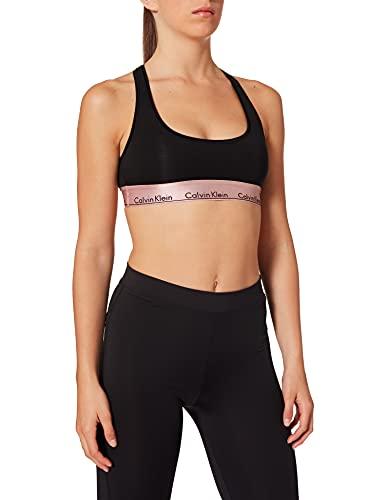 Calvin Klein Damen Unlined Bralette 79 Bikinioberteil, Schwarz (Black W. Rose Gold Ground GTC), 36 (Herstellergröße:S)