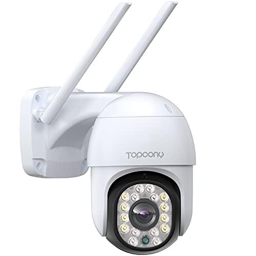 Camara Vigilancia WiFi Exterior, Topcony 1080P Camara de Seguridad IP con Visión Nocturna en Color de 30M, Detección de Movimiento, Audio Bidireccional, Adecuado para Garaje, Jardín y Granja