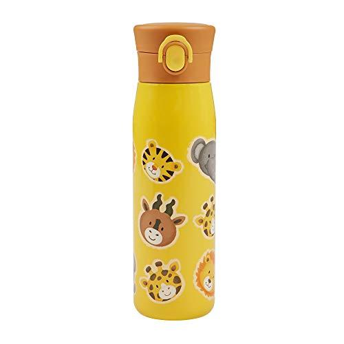 SIGIKID Mädchen und Jungen, hitzebeständige Trinkflasche, Edelstahl-Isolierflasche Zoo 420ml für Kindergarten, Schule & Ausflüge, BPA-frei, empfohlen ab 36 Monaten, gelb, 25095