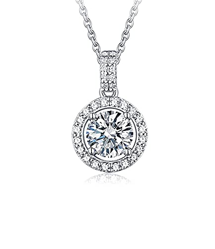 Yope RI - Collares con colgante de diamante de 1 quilate para mujer - Collar con colgante de diamante de oro blanco de 18 quilates - Joyería fina | (certificado GIA D/VVS1)