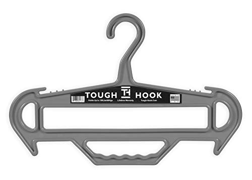 Tough Hook  Heavy Duty Multipurpose Gear Hanger  150 lb Load Capacity  Made in USA  High-Impact Plastic for Extreme Durability Grey