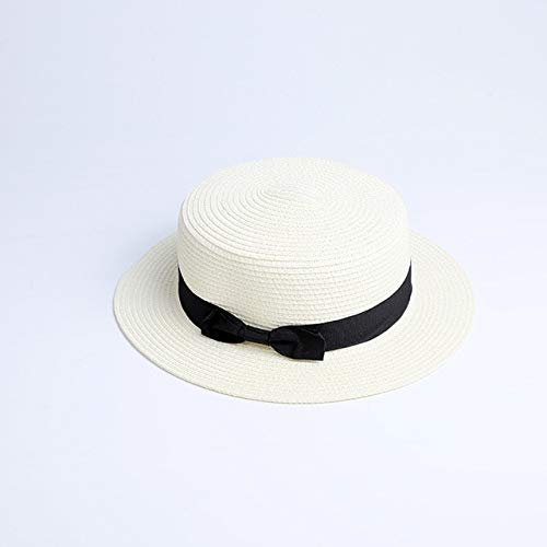 Cappello di paglia piatto da sole genitore-figlio cappello da marinaio da bambina con fiocco Cappelli estivi da donna cappello da paglia piatto da spiaggia e bambino-a15-adult 56-58cm