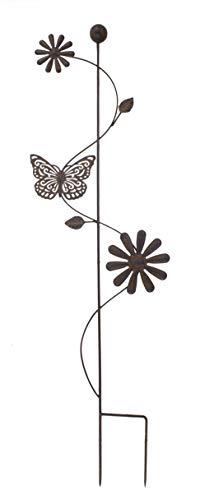 DARO DEKO Metall Garten-Stecker 100cm Zwei Blumen