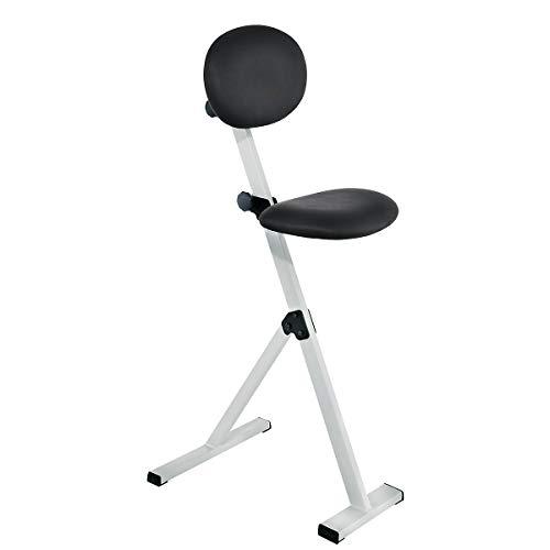 ErgoPlus Stehhilfe mit Rückenlehne, Gestell lichtgrau , Polster / Bezug Skai schwarz -
