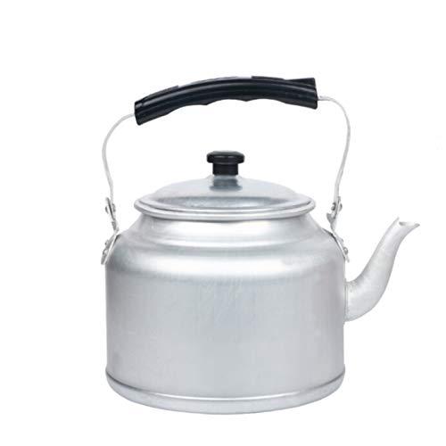 Electric oven Tetera de té de Aluminio de Estilo Antiguo, hervidores de la Estufa para Agua hirviendo Tetera Lavada Plateada con Mango ergonómico (tamaño : 4L)