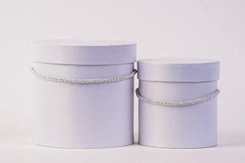 Lot de 2 boîtes à fleurs rondes en blanc avec cordon de serrage blanc, boîte de rangement avec couvercle, boîte chapeau simple, coffrets cadeaux blancs, personnalisable