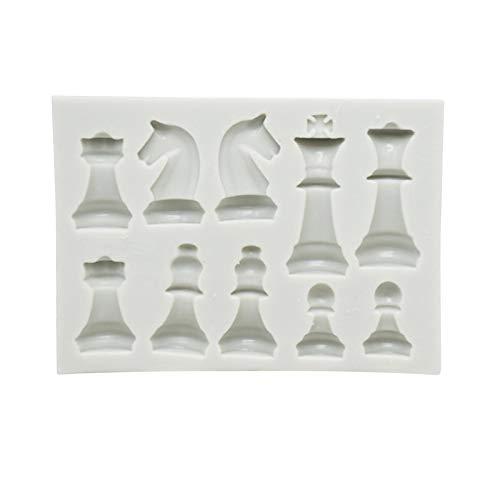 Molde de resina de ajedrez, 10 rejillas, molde de silicona, para chocolate, gelatina, hielo, fondant, DIY, Bakware, color rosa y blanco