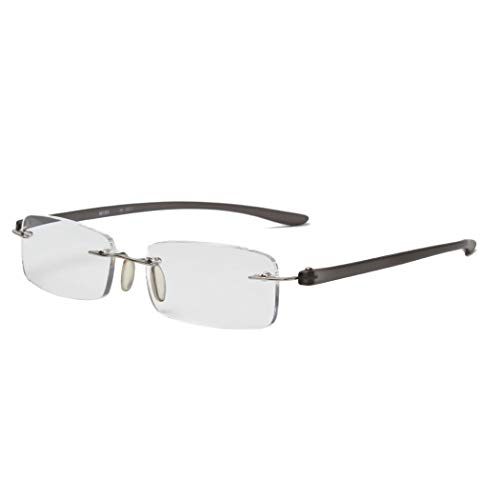 MIDI-ミディ おしゃれなメンズ老眼鏡 リーディンググラス 軽量で快適な掛け心地 フチなし リムレスフレーム ブラック (M-303,C1,+2.00)