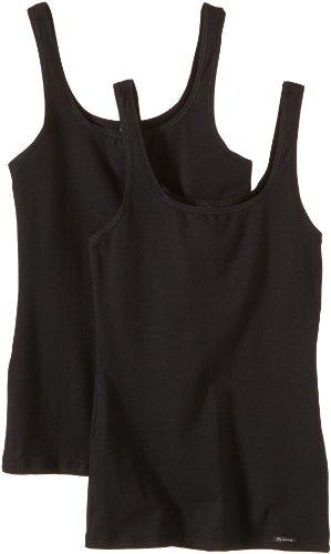 Skiny Damen Advantage Cotton Tank Top 2er Pack, Schwarz (Black 7665), 42