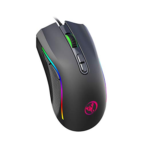 TKOOFN RGB Gaming Mouse, 6 DPI (1000/1600/2400/3200/4800/7200) Optical LED Wired Mouse with Programmable 7 Keys RGB Marquee Effect Light, Ideal for Computer Games & Daily Use