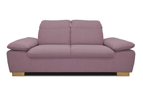 DOMO Collection Maven Sofa, 2,5-Sitzer Couch mit Arm- und Rückenfunktion, Garnitur mit Federkern und Relaxfunktion, 215x110x77, 2,5er Polster in rosa