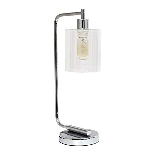 Simple Designs LD1036-CHR Bronson Antique Style Industrial Iron Lantern Glass Shade Desk Lamp, Chrome