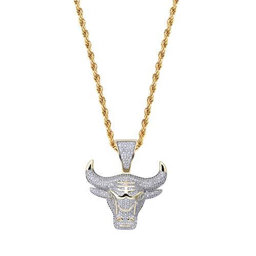 Modow Chicago Bulls Kupfer Anhänger mit Hip Hop Mode Edelstahl Halskette 24in Kette, Basketball Never Stops,Twisted,Necklace