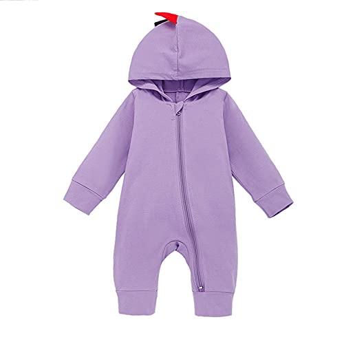 reakoo Toddler Baby Girls Boy Outfits Zipper Long Sleeve Cute Dinosaur Siamese Climbing Clothes Baby Clothes Purple