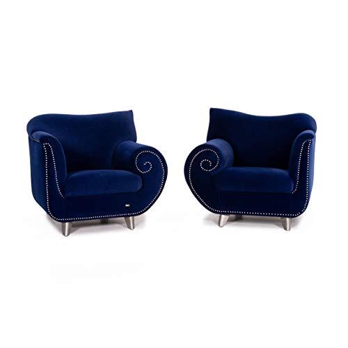 Bretz Gaudi Velvet Fabric Armchair Set Dark Blue Blue 2X Armchair