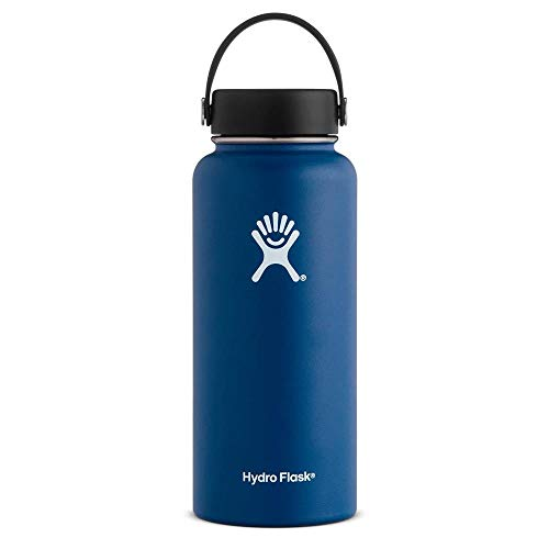 Hydro Flask Water Bottle - Stainless Steel & Vacuum Insulated - Wide Mouth with Leak Proof Flex Cap - 64 oz, Cobalt
