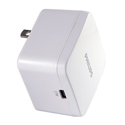 Philips 27W USB-C Wall Charger, For iPhone 11/Pro/Max/XS/XR/X/8, iPad Pro/Air/Mini, MacBook Air, Samsung Galaxy S10/S9/Plus, Google Pixel C/3/2/XL and More, White, DLP2509Q/37