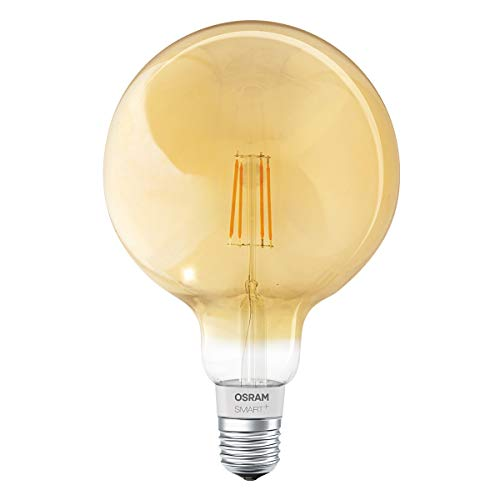 Osram Smart+ Bombilla LED con filamento Globe Gold, Bluetooth con casquillo E27, regulable, sustituye a bombilla de 50 W, blanco cálido, compatible con Apple Homekit y Ledvance Smart+ App para Android