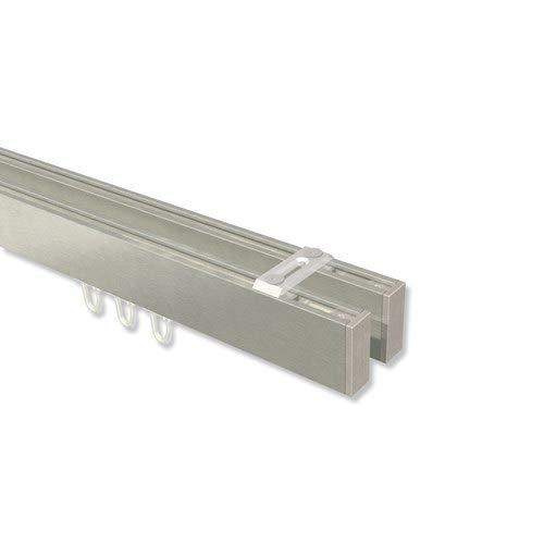 INTERDECO eckige Innenlauf-Gardinenstangen (Deckenbefestigung) Edelstahl Optik doppelläufig Smartline (Universal) Paxo, 120 cm