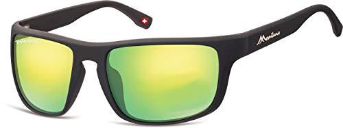 Montana Gafas de sol unisex Kat.3 mate negro/verde (SP314E)