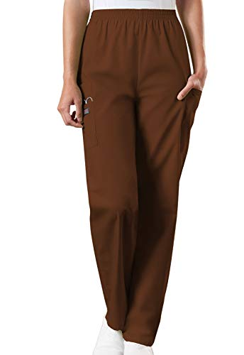 Cherokee Women's Plus Workwear Elastic Waist Cargo Scrubs Pant, Chocolate, XX-Large Petite