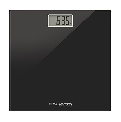 Rowenta Premiss BS1060V0 - Báscula baño, con pantalla LCD, compacta, capacidad de 150 kg, plataforma de vidrio, apagado automático incluye pilas