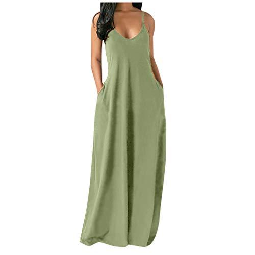 CHIYANG Sommerkleid Damen Freizeitkleider Ärmellose Sommer Mehrfarbig Abendkleider Elegant Dress Plus Größe Frauen Normallack Reizvoller Tief V Straps Lange Kleid