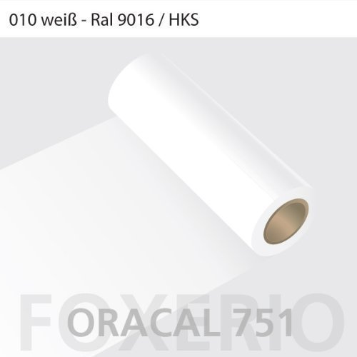 Orafol - Oracal 751 - 31cm Rolle - 5m (Laufmeter) - Weiß / glanz, 010 - we - 751 - 31cm - 5m - Autofolie / Möbelfolie / Küchenfolie