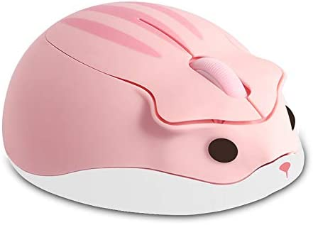 Wireless Mouse Cute Hamster Shaped Computer Mouse 1200DPI Less Noice Portable USB Mouse Cordless Mouse for PC Laptop Computer Notebook MacBook Kids Girl Gift(Pink)