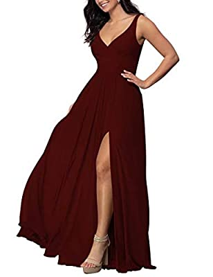 V-Neck Long Bridesmaid Dress Chiffon Wedding A-line Prom Dress with Slit Formal Dress(Burgundy,14)