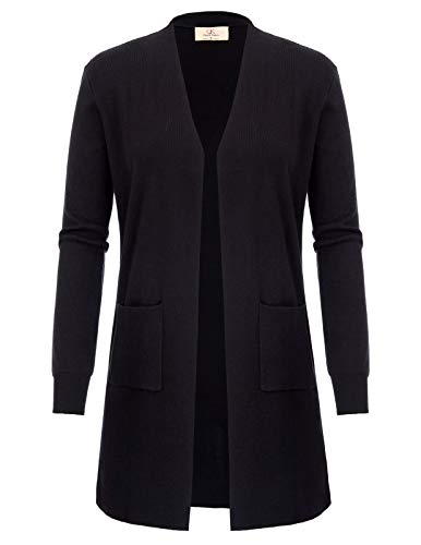 Women's Long Sleeve Open Front Loose Casual Kimono Cardigan (M,Black)