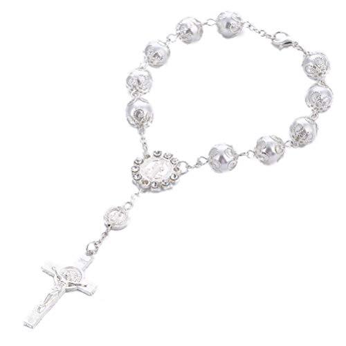 Toyvian Pulsera de Cruz Cristiana Pulsera de Rosario Artificial de Perlas para Mujeres y niñas (Plateado)