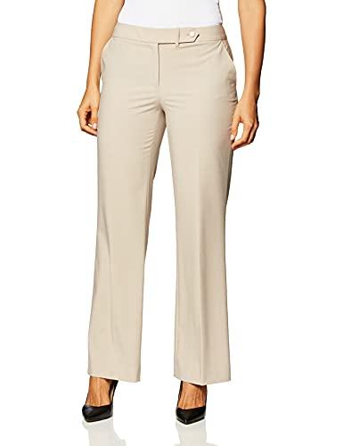 Calvin Klein Women's Classic Fit Straight Leg Suit Pant, Khaki, 4