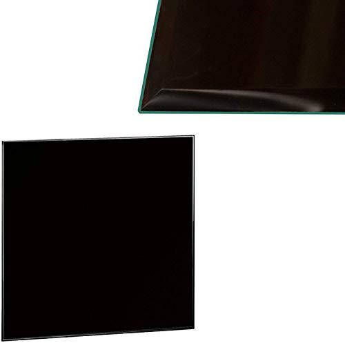 Plaque de verre pour poêle à cheminée - plaque de verre avec verre de sécurité ESG de 6 mm - parfaitement adaptée comme plaque de protection contre les étincelles (90x90cm, Noir)