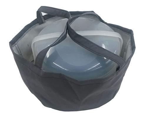 Biona Tasche für Kuchen/Torten ø 36 cm Höhe 20 cm für div. Behälter, Transporttasche, Transportbox, Transportbehälter, Kuchentasche (grau)