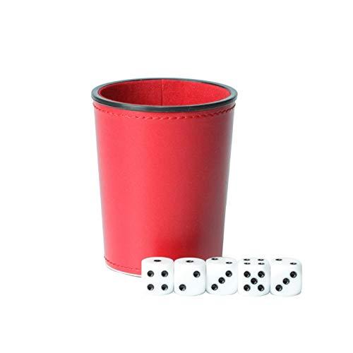 QOTSTEOS Würfelbecher mit 5 Pokerwürfeln, PU-Lederwürfelbecher, Filzgefütterter, leiser Innenschüttler für alle Arten von Würfelspielen, Craps, Backgammon usw.