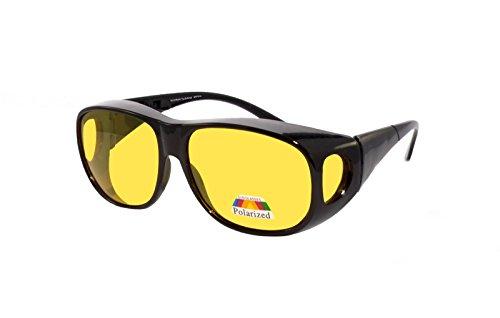 rainbow safety Überbrille Sonnenbrille für Brillenträger Schutzbrille für Sport Radfahren Skifahren Angeln Auto Nachtsichtbrille Polarisierte Gläser RWN10 (Nachtsichtbrille Schwarz)