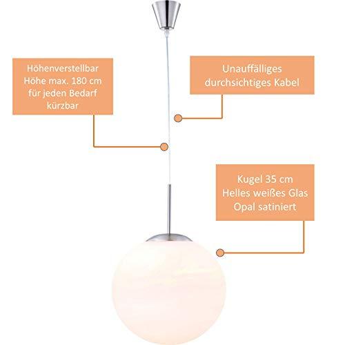 LED hanglamp glas bal slaapkamerlamp wit woonkamer lamp hanglamp (hanglamp, hoogte 180 cm, glazen bol 35 cm, 9 Watt)