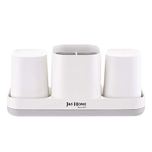 Nicejoy Titolare Spazzolino Spazzolino Cup Dentifricio Bagno Caddy Cura Personal Storage Staffa Multifunzionale per Bagno Bianco